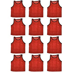 Buy BlueDot Trading High quality 12 Red adult sports pinnies-12 High quality scrimmage training vests by Bluedot Trading