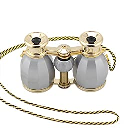 OPO Opera Theater Horse Racing Glasses Binocular Telescope Chain Necklace (Grey with Gold Trim) 4X30