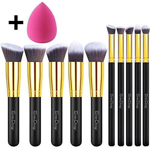 EmaxDesign - Set di pennelli per trucchi, 10 pezzi per fondotinta, fard, ombretto, cipria, creme, + 1 spugnetta