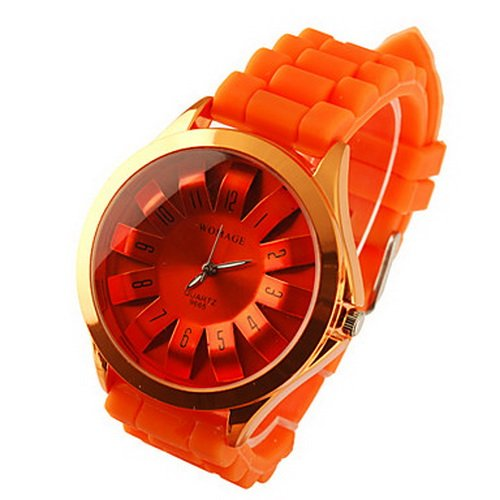 Modern Metal Dial Fashion Silicone Band Quartz Women Men Casual Watch (Orange)