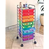 Seville Classics SHE16218B 10 Drawer Cart, Multi Colors