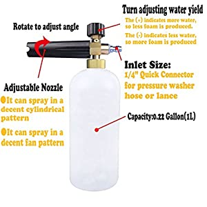 Dutiger 8609092 Pressure Washer Lance Car Wash Gun Snow Foam Lance Washer Nozzle with 1/4 Quick Connector Foam Cannon Water Jet