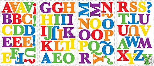 Rainbow Colored Alphabet 73 Wall Stickers Kids Name Letters Room Decor Decals front-1053086