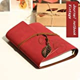 SDBING Vintage String Leaf Classic Leather Notebook Diary Journal Daily Planner Retro Note Book 180 Blank Pages