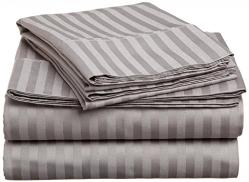 "650 Tc 100% Combed Egyptian Cotton Bed Sheets For Camper'S Rv'S & Bunk'S 6 Piece Sheet Set 8"" Deep Pocket Rv Short King (73X76"") Dark Grey Stripe front-508246"