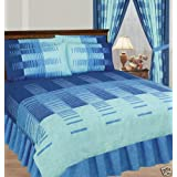 King Duvet Cover With Valance Sheet And 2 Pillowcases Blueby Matching Bedroom Sets
