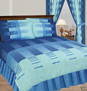 King Duvet Cover With Valance Sheet And 2 Pillowcases Blue