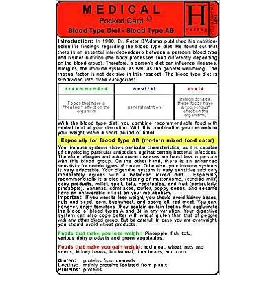 Blood Type Ab Diet - Medical Pocket Card (Cards) - Common