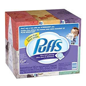Puffs Ultra Soft and Strong Facial Tissues, 6 Pack of 124-Count Family Boxes (Packaging May Vary) 2x stronger when wet vs the leading value tissue