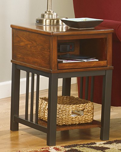 Ashley Furniture Signature Design Chairside End Tables Chair Side End Table, Medium Brown front-620499