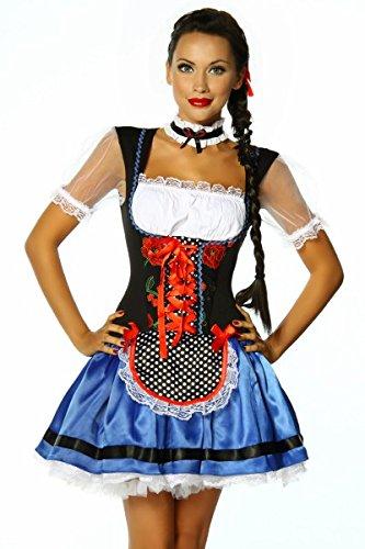 Sexy Dirndlrobe Wiesn Oktoberfest vestito, gonna Camicia Costume Carnevale Petticoat Bleu / Noir / Blanc M