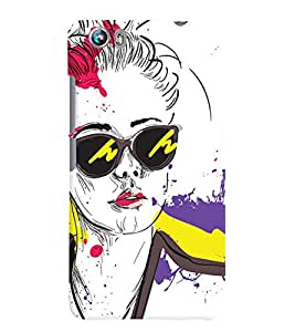 Fuson Colorful Google Girl Back Case Cover for MICROMAX CANVAS FIRE 4 A107 - D3785