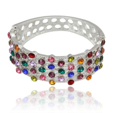 MizEllie Costume Jewellery Rainbow On My Wrist Multicoloured Silver Tone and Rhinstone Hinged Bangle Bracelet ,Can Make An Ideal Gift With Free Elegant Organza Jewellery Pouch