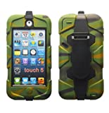 MGG (LIMITED EDITION) Camouflage Heavy Duty Builders Armour Triple Defender Tough Survivor Military Shockproof Case Cover For Apple iPod Touch 5 5th Gen Generation With Belt Clip & Built in Screen Guard