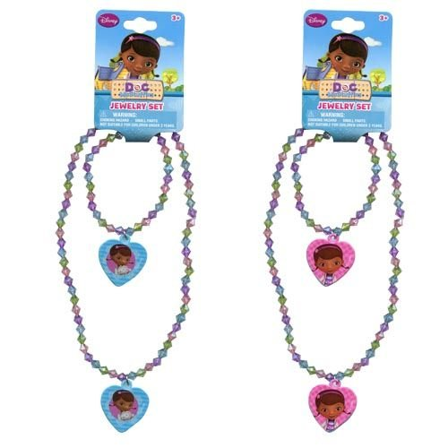 Disney Doc McStuffins Girls Heart Charm Necklace and Bracelet Set - Assorted Styles (1 Set)