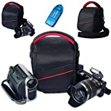 First2savvv black professional heavy duty digital camera carrying case bag for FUJIFILM X20 with card reader