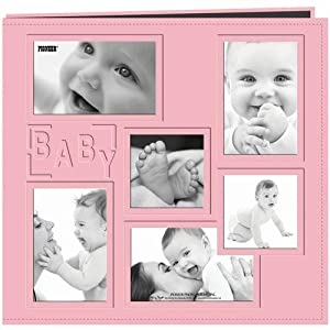 "Pioneer 12-Inch by 12-Inch Collage Frame Embossed ""Baby"" Sewn Leatherette Cover Memory Book, Baby Pink"