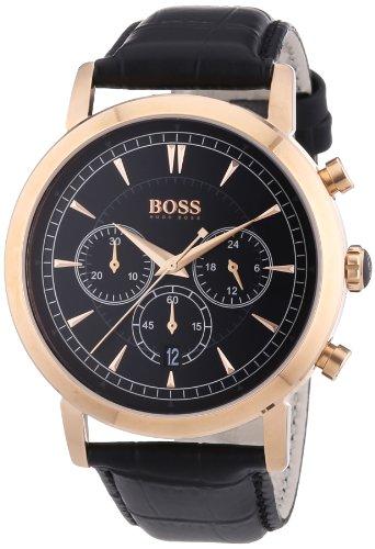 Hugo Boss 1512781 - Reloj analógico de cuarzo para hombre con correa de piel, color negro
