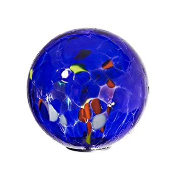 "Ornamental Weather are proud to present the Garden Globe, Roseglobe, Glass Globe ""POINT"", multicolored blue, diameter aprox. Ø 13 cm, decorative ornament, spherical, handmade Glass (GardenFlair powered by CRISTALICA)[Garden Globe, Roseglobe]"