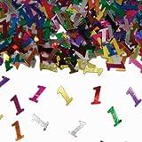 Bunt glitzerndes Konfetti mit Geburtstagszahl: 1 // Tüte mit 15g (ca. 1000 einzelne Konfetti's) // Deko Tischdeko Jubiläum Zahlenkonfetti Metallkonfetti Streukonfetti erster Geburtstag Birthday Baby Kinder Kindergeburtstag