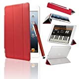 Colletion&Joy iPad mini Ultra-Thin Smart Cover Case Magnetic Protective Flip Skin Case Stand, with Auto Sleep and Wake Sensor, Bonus Gift: Stylus Pen, Screen Protector and Polishing Cloth (Red)