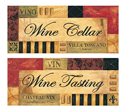 Vintage Italian Wine Tasting & Wine Cellar Signs: Two 20x8 Custom Printed Giclees (Wine Cellar Decorations compare prices)