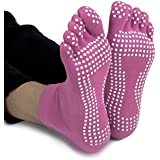 Crown Sporting Goods SYOG-103 Yoga Toe Socks with Slip-Free Silicone Texturizing Beads
