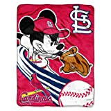 MLB St. Louis Cardinals Mickey Mouse Micro Raschel Throw Blanket, 46x60-Inch