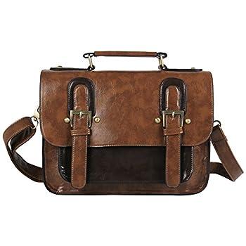 Ecosusi Women PU Leather Vintage Satchel Bag Crossbody Briefcase Handbag
