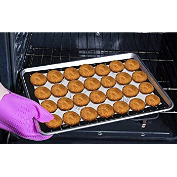 Silicone Baking Mat - Set of 2 Half Sheet - Nonstick Easy Clean for Cookies, Pastries, Meats & Candy - Fit for US Half Sheet Size(Black)