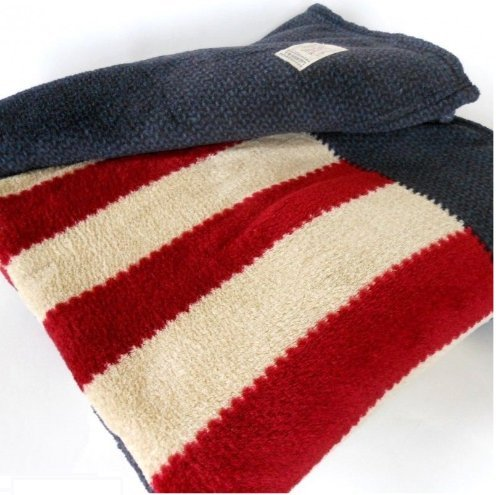 Lauren Plush Patriotic American Flag 60 X 70 Throw Blanket On Navy Blue Super Soft front-48427