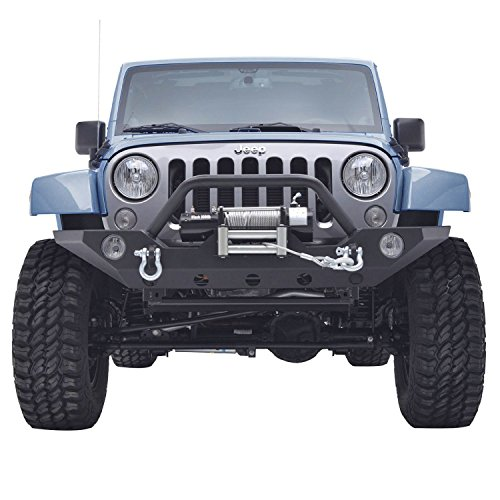 Restyling Factory Jeep Wrangler JK Black Front Bumper with Jeep JK D-Rings and Winch Plate