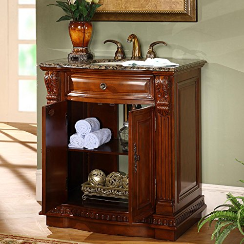 top single sink bathroom vanity with cherry finish cabinet 33 inch