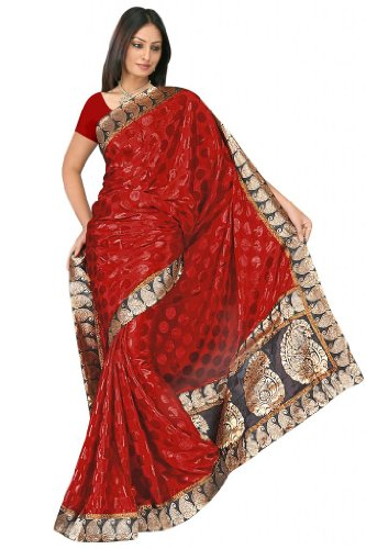 Sehgall Sarees Handloom Brocket Border And Pallu Attached With Polka Dot Crape Satin Maroon Saree
