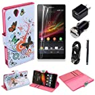 (TRAIT)6in1 Colorful Butterfly PU Leather Wallet Cases Protective Skin Protector Covers for Sony Xperia Z L36h Flip Case Folio Cover Stand Holder+Car Charger +Wall Charger Adaptor +USB Data Cable +1*touch Screen Pen +Screen Protector