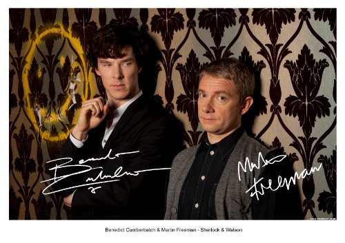BBC SHERLOCK 3 BENEDICT CUMBERBATCH & MARTIN FREEMAN SIGNED AUTOGRAPH PHOTO A4 12X8 INCHES PRINT POSTER HOLMES SERIES SEASON 1 & 2