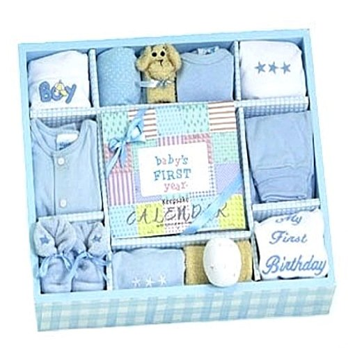 New Baby Boy Blue Layette Gift Set with Keepsake First Year Calendar - Great Shower Gift Idea for Newborns at Amazon.com