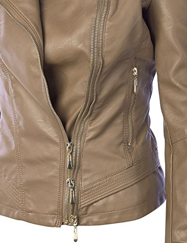 MBJ Womens Faux Leather Zip Up Rider Jacket with Stitching Detail M KHAKI