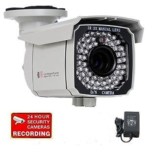"VideoSecu Outdoor 700TVL IR Security Camera 1/3"" SONY Exview CCD II EFFIO-E DSP 65 IR Leds 8-20mm Varifocal Lens 3X Zoom CCTV Day Night Vision Camera for DVR Home Surveillance Free Power Supply IR549K WB7"