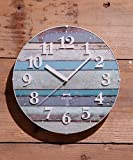 BRUNO 電波ビンテージウッドクロック ブルーノ 電波時計 (ブルー)
