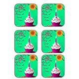 MeSleep Rakhi Wooden Coaster-Set Of 6 - B013LEMAFY