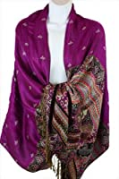 Exotic Floral Pattern Luxurious Pashmina Chic Winter Warm Purple Scarf Shawl Wrap #L01