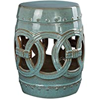 Abbyson Moroccan Ceramic Garden Stool Side Table Patio (Teal)