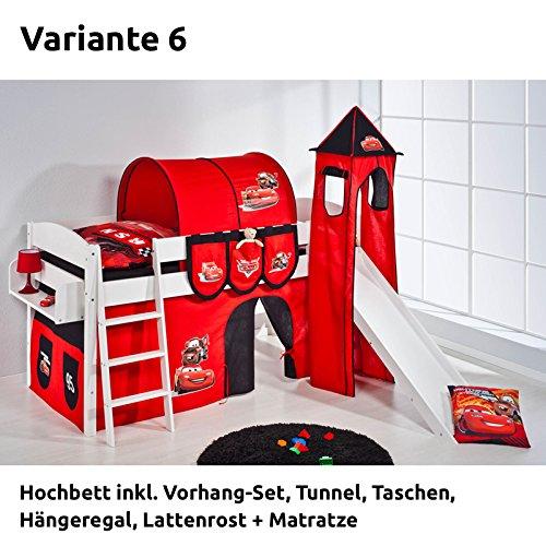 Hochbett Spielbett IDA Disney Cars, mit Turm, Rutsche und Vorhang, weiß, Variante 6 günstig bestellen