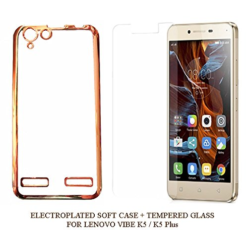 YuniKase MEEK5A3 (COMBO OFFER ) Lenovo VIBE K5 / K5 PLUS – Transparent Soft Silicon Flexible Electroplated Edges TPU Back Case Cover + Premium Tempered Glass screen pretector (Gold)