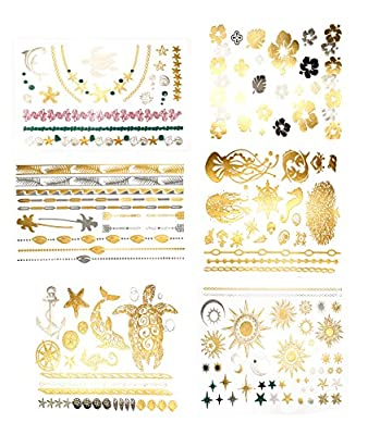 Premium Metallic Tattoos - 75+ Shimmer Designs in Gold, Silver, Black - Temporary Fake Jewelry Tattoos - Bracelets, Feathers, Wrist & Arm Bands, & More By Terra Tattoos™ (Aja Collection)