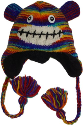 Nepal Animal Hat 100% Wool Adult Size - Rainbow Monkey