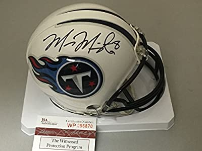 Autographed/Signed Marcus Mariota Tennessee Titans Football Mini Helmet JSA & GTSM COA