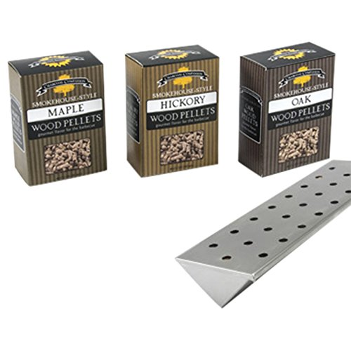 Stainless V-Shape Smoker Box and Wood Pellets Combo for Gas Propane Grill by Charcoal Companion (V Shape Smoker Box compare prices)