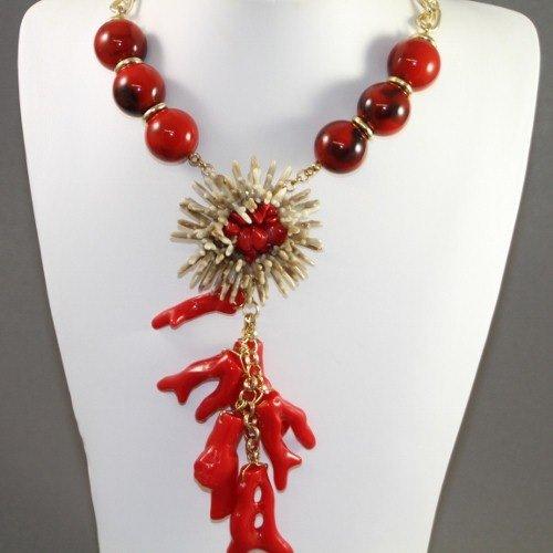 Marish Bold Coral Imitation Gold Necklace
